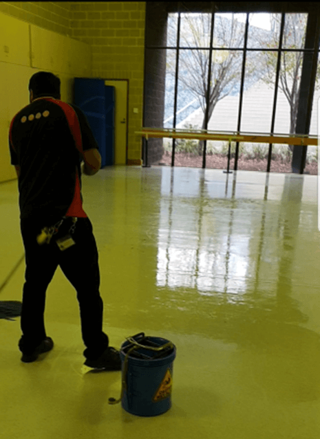 wet floor after mopping